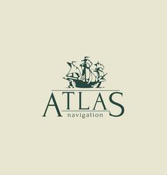 Atlas logo vintage style vector