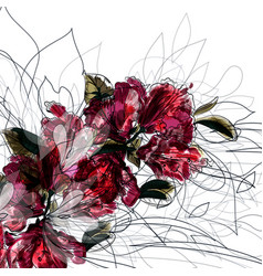 background with hand drawn azalea flowers vector image