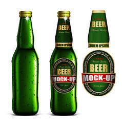 Beer-mock-up-set green bottle without a label vector