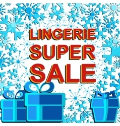 Big winter sale poster with LINGERIE SUPER SALE vector image