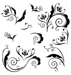 Black floral ornament vector