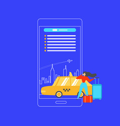 booking taxi with mobile phone flat concept vector image