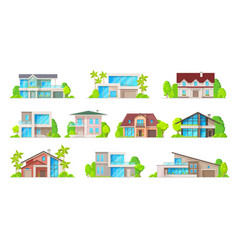 building icons real estate houses and cottages vector image