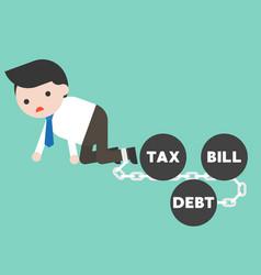Businessman chained by debt bill tax iron ball vector