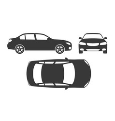 car silhouette automobile top side and front vector image