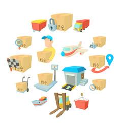 cargo logistics icons set cartoon style vector image