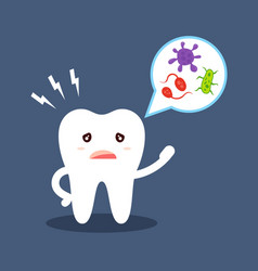 cartoon tooth tells about oral hygiene microbes vector image