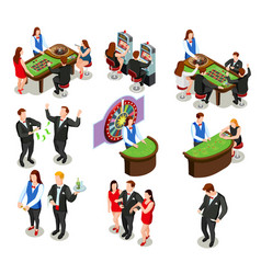 Casino isometric decorative icons vector
