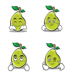 Character of pear cartoon set vector