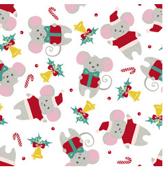 Christmas or new year seamless pattern with cute vector