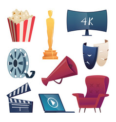 cinema icons entertainment cartoon symbols 3d vector image
