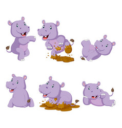collection happy hippo with various posing vector image