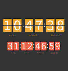 colorful flip countdown timer hourly schedule vector image
