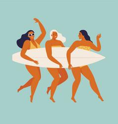 Cute funny girls in swimwear surfing in sea or vector