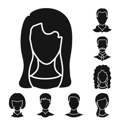design of character and profile sign set vector image