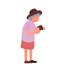 Elderly woman taking pictures of sights cartoon vector