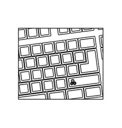 Figure computer keyboard with gear symbol icon vector