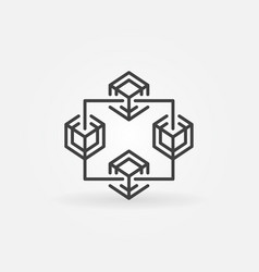 fintech and block chain concept line icon vector image