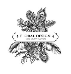 Floral bouquet design with black and white banana vector