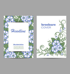 floral brochure cover design beautiful floral vector image