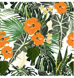 floral fashion tropic wallpaper with palm vector image