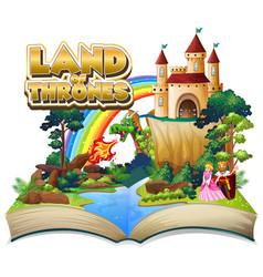 Font design for word land thrones with big vector