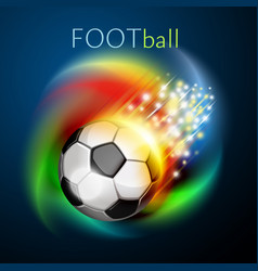 football ball flying over rainbow vector image