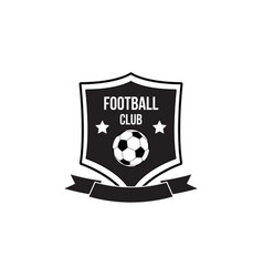 football club emblem with soccer ball on shield vector image