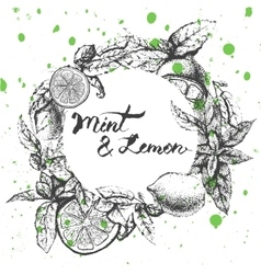 Frame with lemon and mint vector