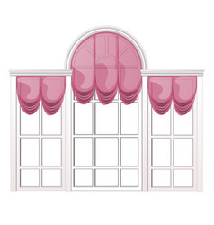 French window and pink curtain isolated on white vector