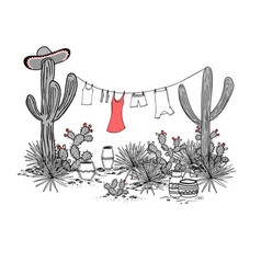 Funny hand drawn with jars saguaro blue agave vector