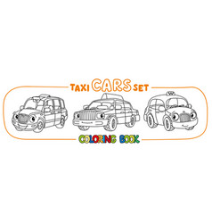 funny small taxi cars set coloring book vector image