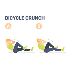 Girl doing bicycle criss cross crunch abs exercise vector