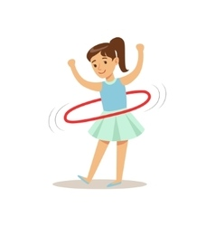Girl Doing Hula-hoop Kid Practicing Different vector image