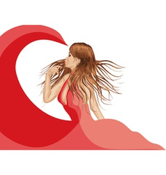 Girl in red dress2 vector image