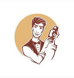 Handsome barman vector