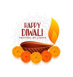 happy diwali festival light with diya design vector image