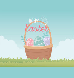 happy easter basket with eggs decoration in grass vector image