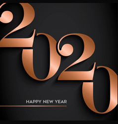 Happy new year gold copper 2020 number card vector