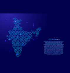 india map country abstract silhouette from blue vector image
