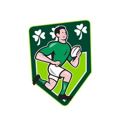 Irish Rugby Player Running Ball Shield Cartoon vector image