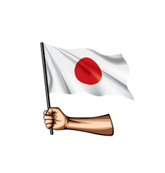 Japan flag and hand on white background vector