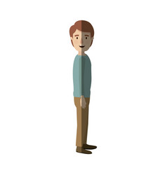 Light color shading caricature full body guy with vector