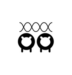 Line icon sheeps cloning vector