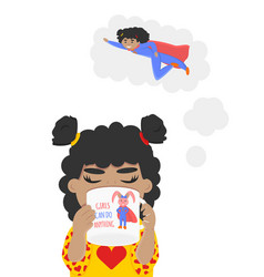 Little girl is dreaming about vector