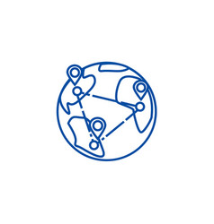 logistics worldwide delivery line icon concept vector image