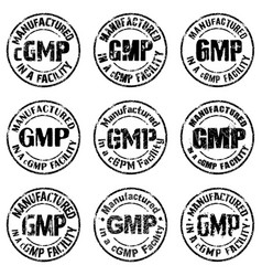 Manufactured in a cgmp facility sign vector