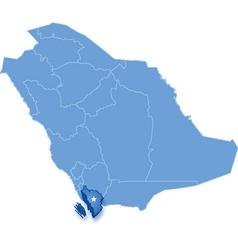 Map of Saudi Arabia the region Jizan vector