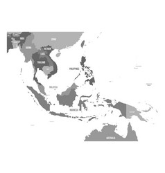 map of southeast asia map in shades of vector image
