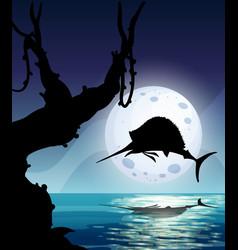 Marlin fish in nature scene silhouette vector